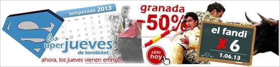 Hoy es Jueves y lo celebramos con un nuevo ofertón!¡SÓLO HOY descuento del 50% en gastos para la encerrona de El Fandi en Granada!¡  http://www.toroticket.com/376-entradas-toros-granada-sabado-1-junio