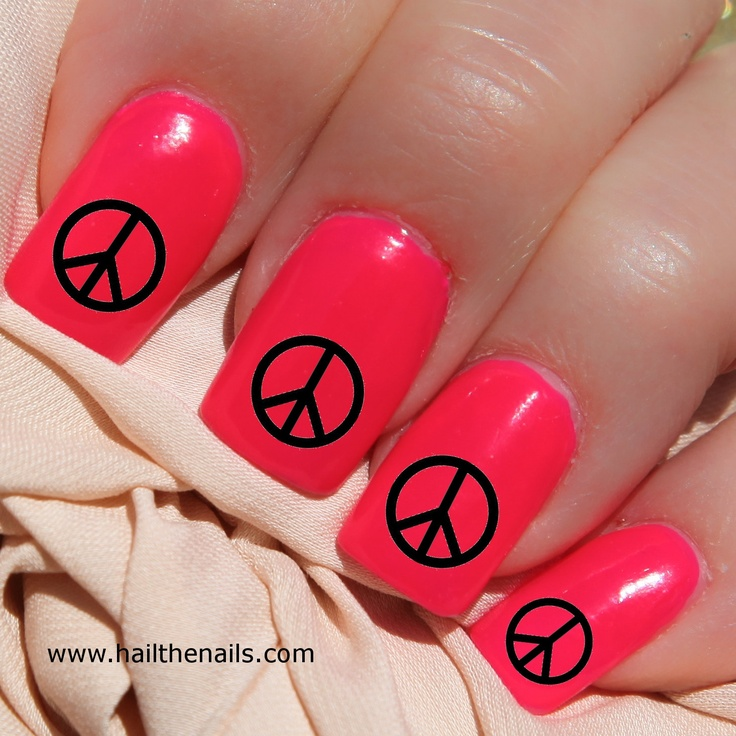 Black Peace Signs Nail Art Water Transfer Decal