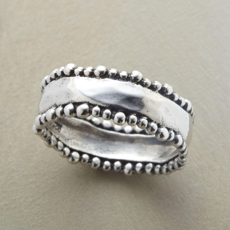 BEADED BORDERS RING -- Tiny beads parade along the wavy perimeters of our hand hammered sterling silver ring. Exclusive. Whole sizes 5 to 9. #SterlingSilverBoho