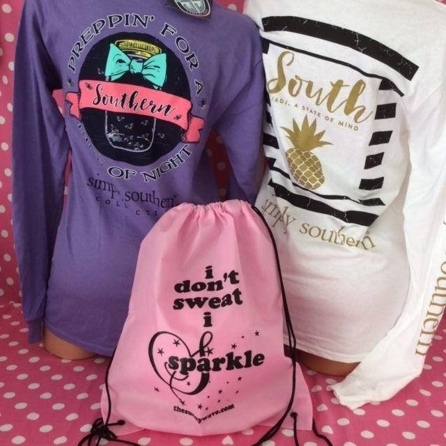 NEW SIMPLY SOUTHERN preppy gift set lot of 2 shirts with backpack bag size small #simplysouthern #GraphicTee