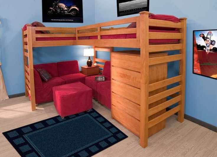 Wonderful Place Red Sofas And Ottoman Under Simple Oak Toddler Bunk Beds With Red  Bedding Part 15