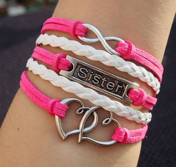 Sister bracelets infinity and heart to heart charm for Wholesale leather craft supplies