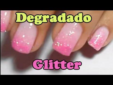 Degradado de uñas con purpurina / glitter ( Fácil para principiantes )
