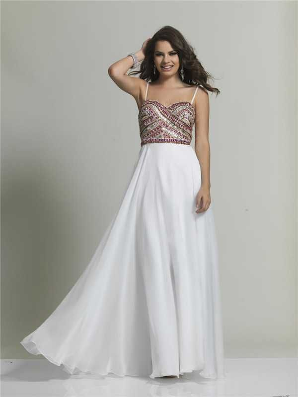 Dave and Johnny 1735 Beaded Ivory Long Prom Dresses Discount