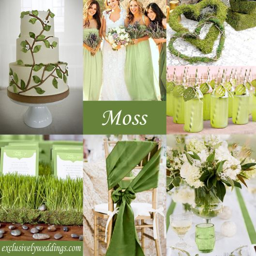 Moss Green Wedding Color Theme. Never thought of it but it would make a very pretty accent color