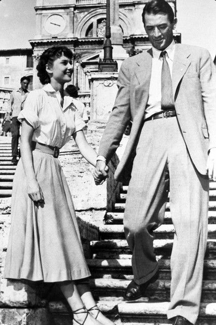 1953 - Filming Roman Holiday in Rome with co-star Gregory Peck.