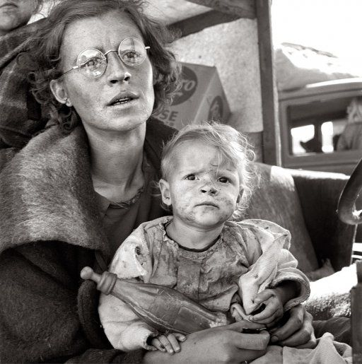 Another picture where you just want to hug that child and help them.  *The Depression era...on the road 1938