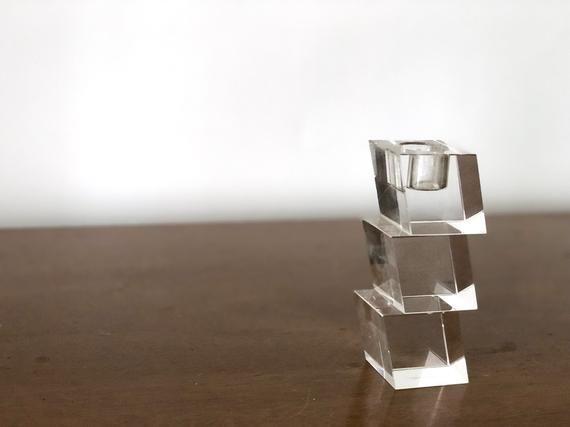 Vintage MCM Oleg Cassini signed crystal candle holder   midcentury modern candlestick holder