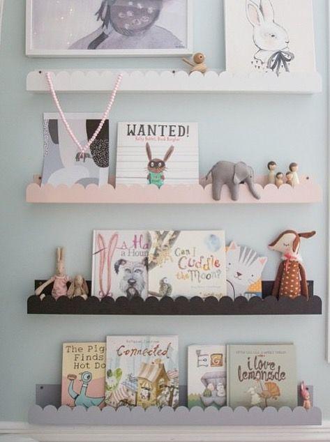 Gorgeous scalloped book shelves