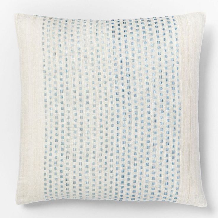 WEST ELM Embroidered Dot Silk Cushion Cover - Light Pool