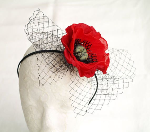 Red Poppy Headband Red Fascinator Poppy Headpiece Floral