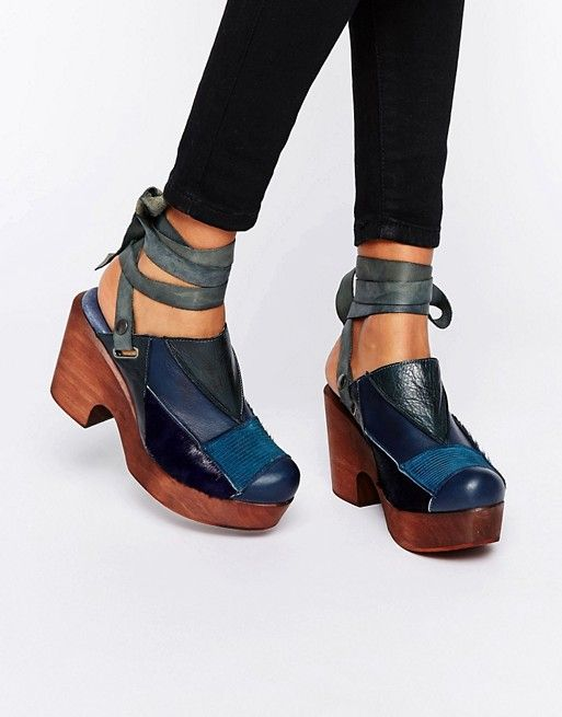 Free People | Free People Into the Patchwork Navy Denim Clog