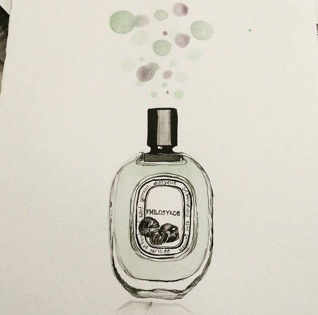 Diptyque philosykos parfum watercolors illustration
