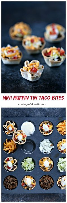 Mini Muffin Tin Taco Bites from cravingsofalunatic.com- Bite size taco cups made in mini muffin tins. These Mini Muffin Tin Taco Bites are perfect for the kids for lunch, dinner, or snacking. They also make great appetizers for parties.#sponsored #bornonthefarm