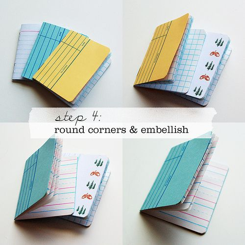 Adorable notebooks made from library catalog cards and scrap paper. Love the rounded corners!