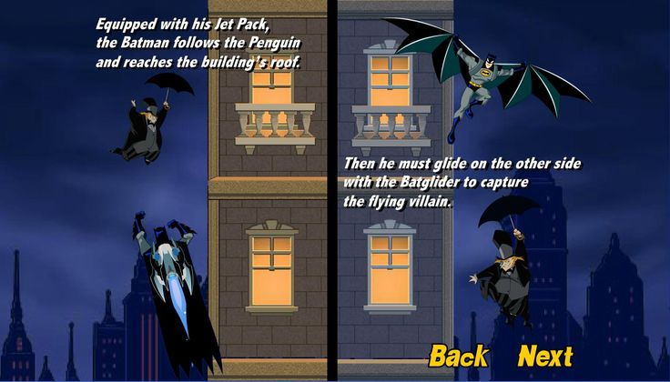 Batman the umbrella attack is a action game only on edygames.com.You have the duty to help batman to catch the penguin while he's flying his way up on buildings! Equipped with his Jet Pack batman must catch him and reaches the building's roof. After this he must glide on the other side after the fling villain. Good luck and enjoy it only on edygames.com.