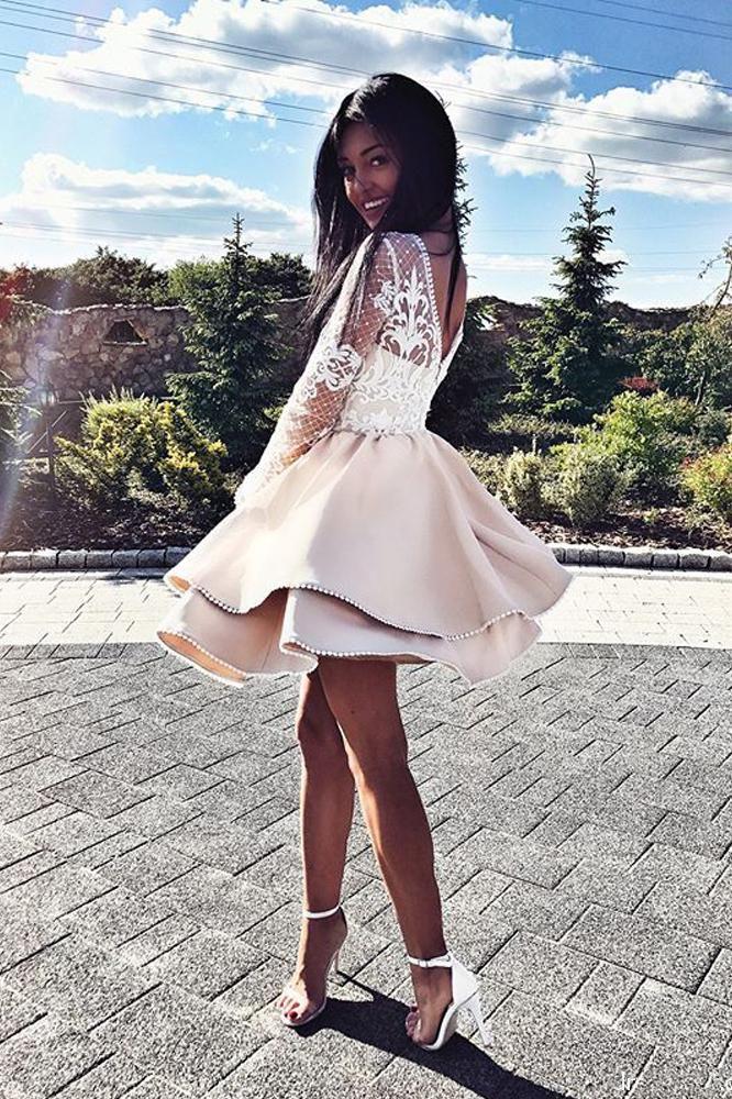Long Sleeve Satin Short Homecoming Dress, A Line Lace Mini Party Dresses N1085 | Mini prom dresses, Dresses, Homecoming dresses