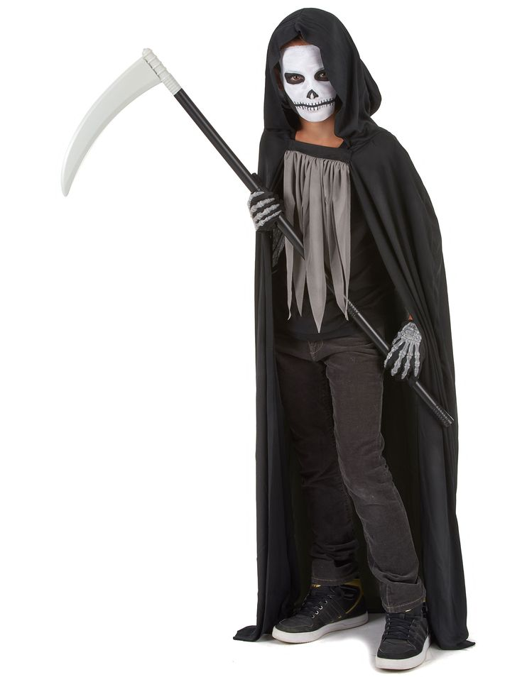 The Grim Reaper Halloween costume for children.: The Grim Reaper costume for boys which consists of a long hooded tunic and a frill.Dark costume, light and comfortable. (Gloves, shoes and scythe not included).This costume will make you scary...