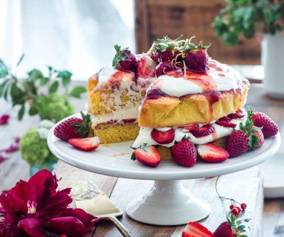 Lemon sponge cake with strawberries and cream by Nadia Lim | NadiaLim.com