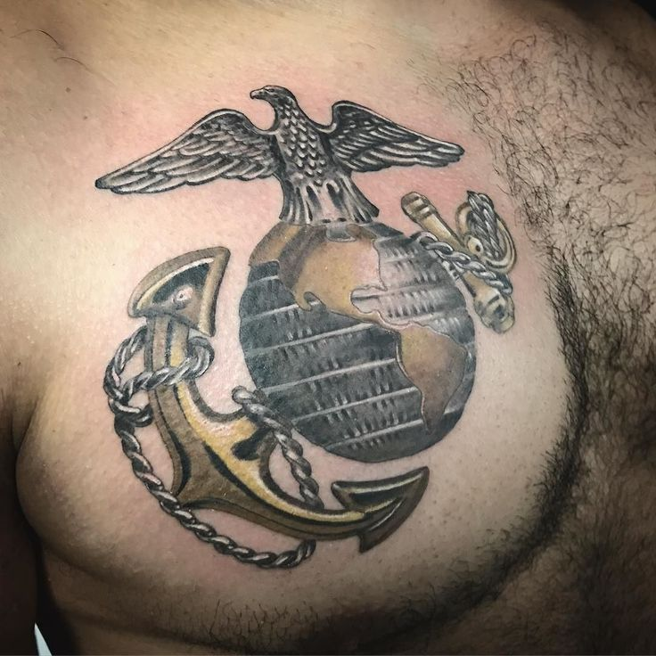 USMC chest tattoo. Gold metal looking #usmc #tattoo