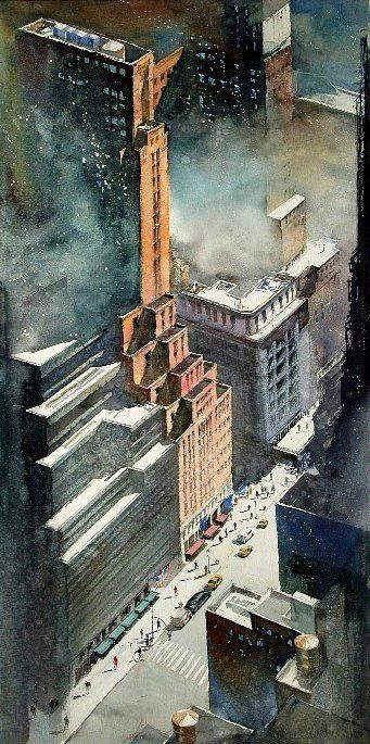 Watercolor artist Kazuo Kasai (Japanese: 1955) | Metropolis Syndrome - NYC Art Deco - 102cm×51cm — with 張謹繪 at Top Of The Rock NYC.