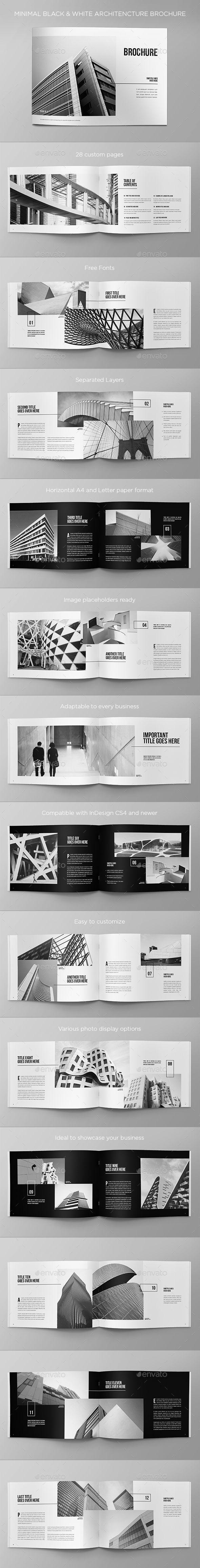 Minimal Black & White Architecture Brochure - Brochures Print Templates