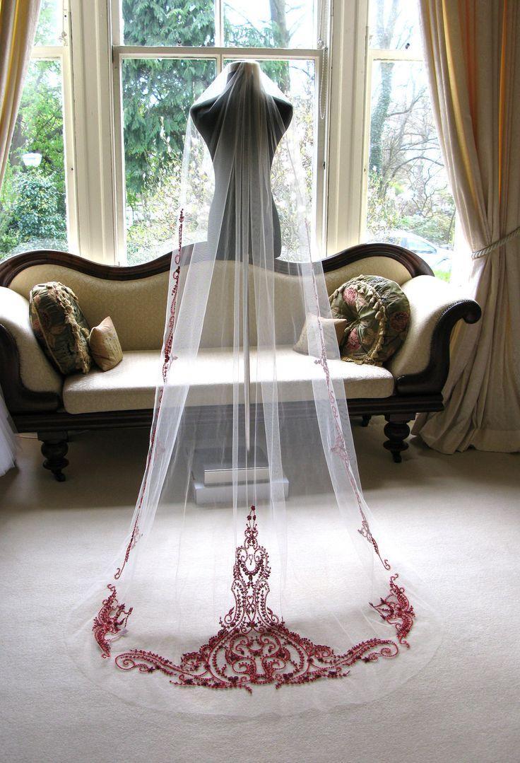 Couture bridal or wedding veil - mini Sophia in garnet. £415.00, via Etsy.