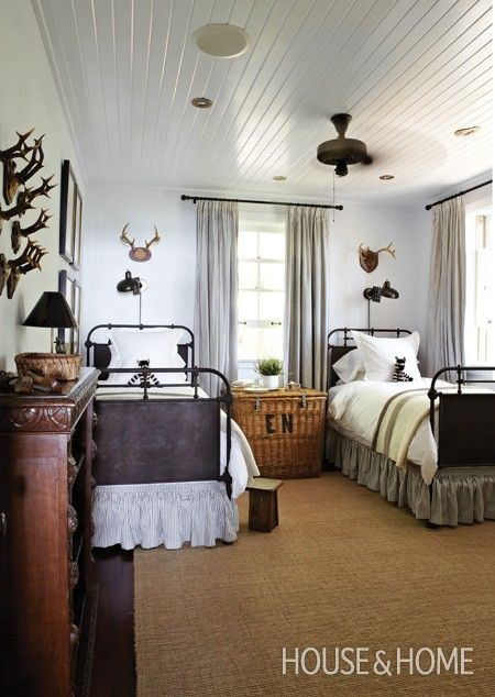 Cottage Bedroom With Antlers | House & Home