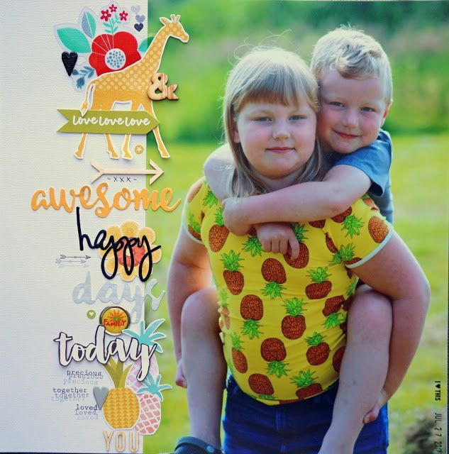 Sara Kronqvist - Saras pysselblogg: Awesome | Scrapbook page using big photo and lots of fonts and text quotes