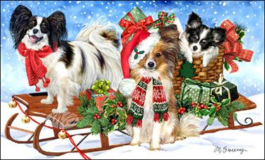 "Papillon Christmas Cards are 8 1/2"" x 5 1/2"" and come in packages of 12 cards. One design per package. All designs include envelopes, your personal message, and choice of greeting. Select the greeting of your choice from the drop-down menu above. Add your personal message to the Comments box during checkout."