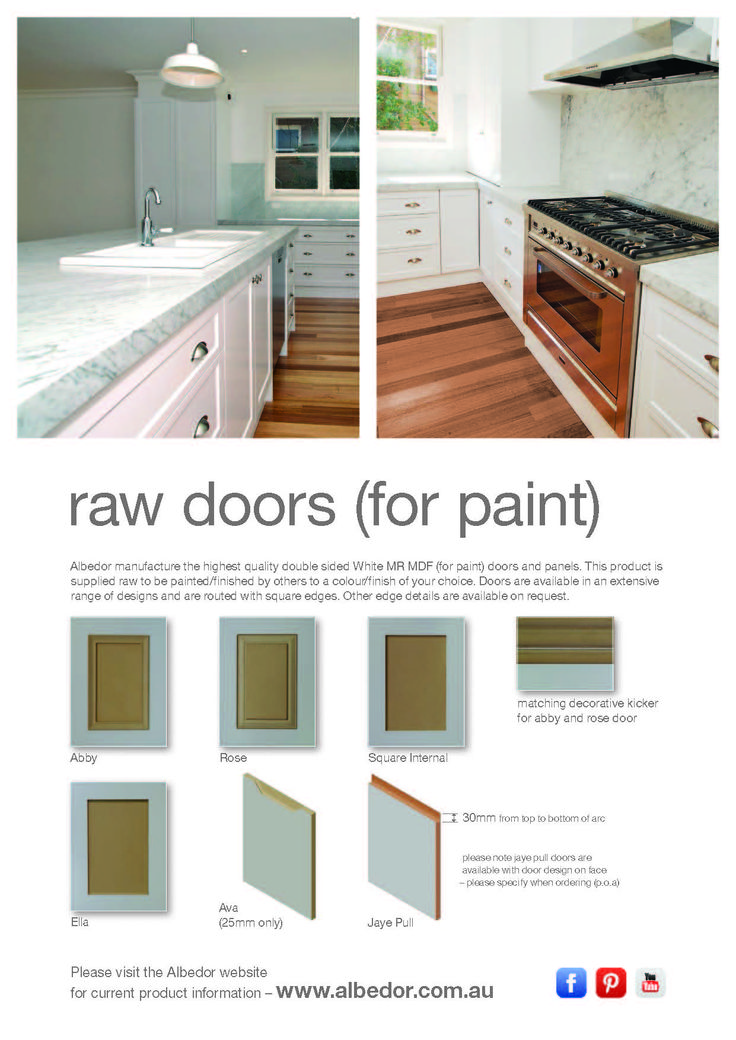Raw Doors for paint Mini Brochure. If you would like to view or download our Brochure just click on the link below- http://www.albedor.com.au/images/downloads/brochures/2015_raw_doors_mini_brochure.pdf