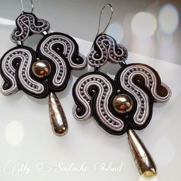 Pirite soutache black & grey earrings