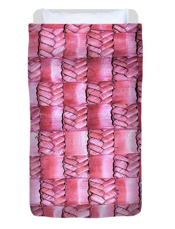 Weaving Duvet Cover featuring the photograph Weaving Flax - Watermelon by Wairua o te Moana