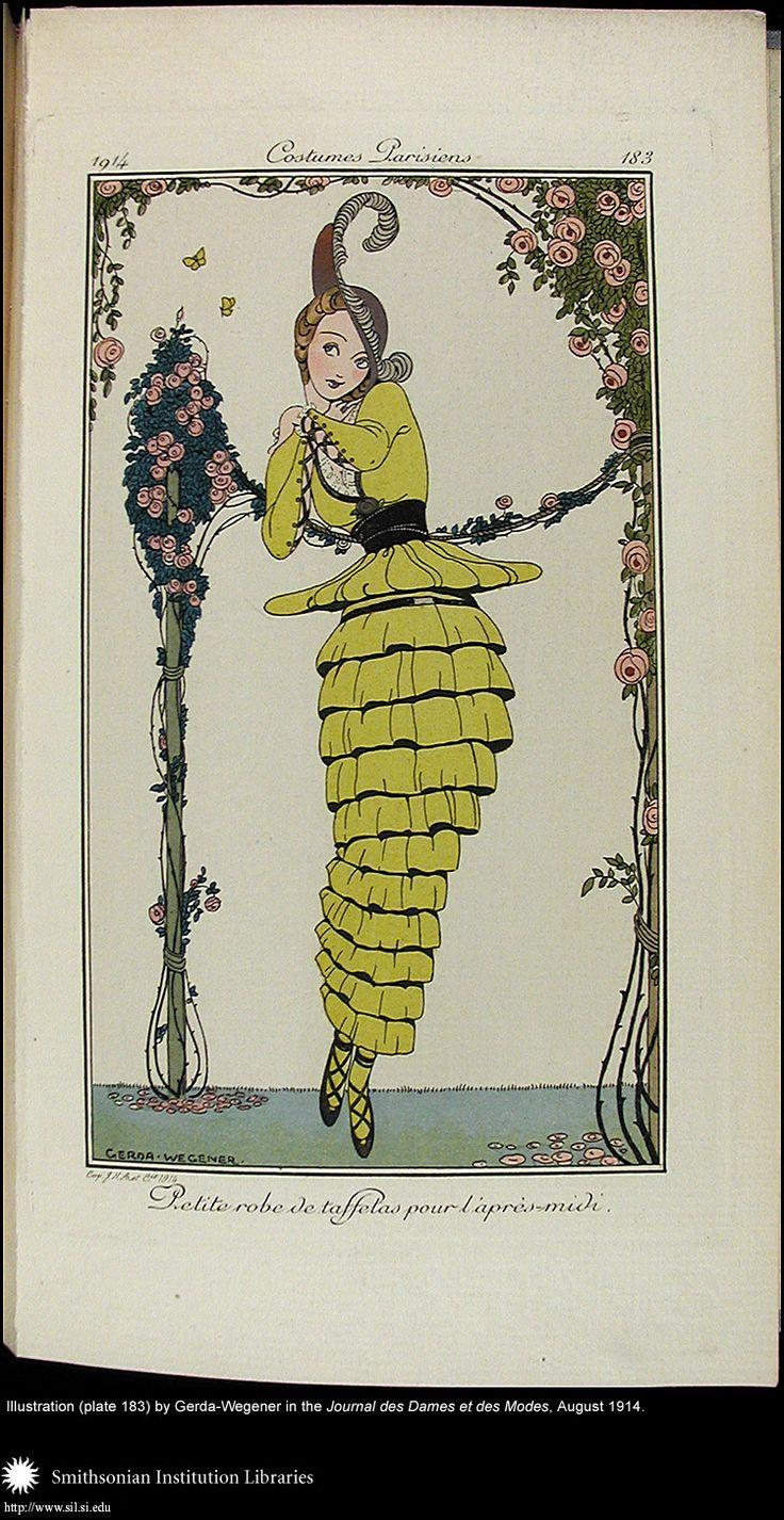 Artist Gerda Wegener is best known for her fashion illustrations in such publications as Journal des dames at des modes, 1914