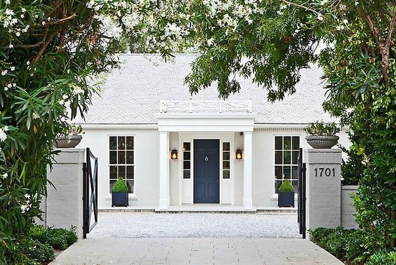 {Gwyneth Paltrow's Ultra-Chic, Windsor Smith-Designed Home in Brentwood |Brick: Benjamin Moore Revere Pewter HC-172 | Trim: Benjamin Moore White Dove OC-17}