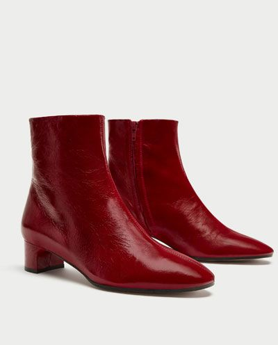 LEATHER ANKLE BOOTS WITH BLOCK HEEL-Ankle Boots-SHOES-WOMAN | ZARA Bosnia and Herzegovina