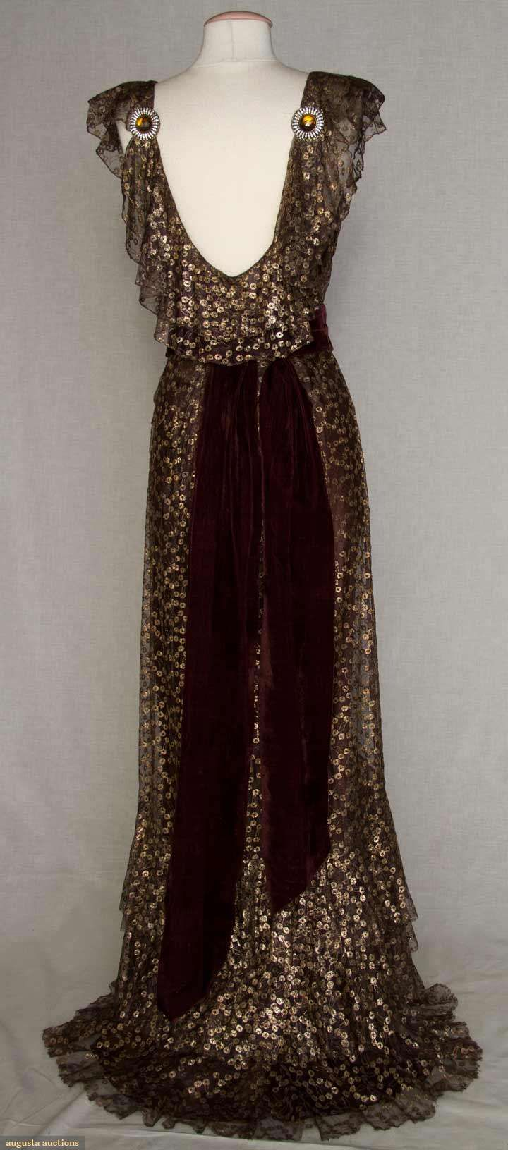 Love this low back with jeweled clips. 1934 metallic and brown evening gown with flounced neckline and hem.  #art #deco #ball