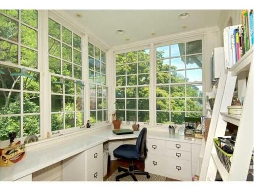 I would love to have a room like this and make it a office or craft room. Roman shades would look great.