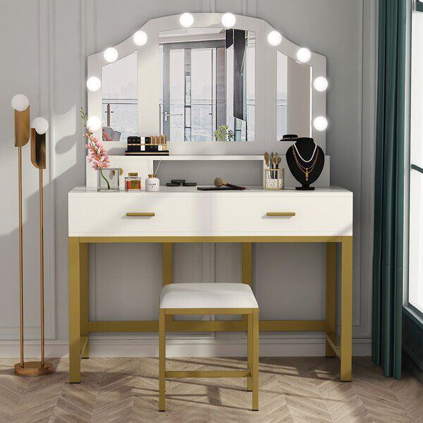 Hanchett Vanity Set With Stool And Mirror Large Vanity Makeup Table Vanity Vanity Table Set Vanity table with mirror and bench