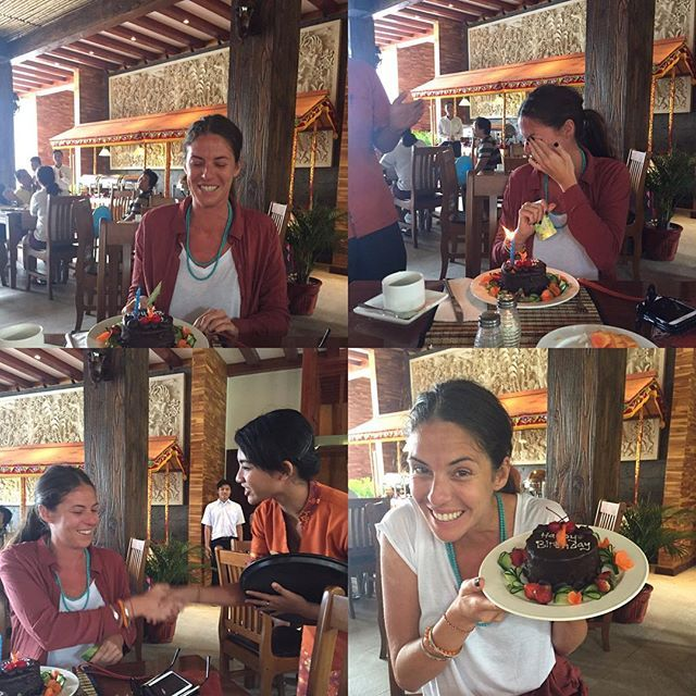 Balinese birthday breakfasts are brilliant.  Happy Birthday to very special soul @rosehealing. Thank you for being an amazing sister & friend.  May your next lap around the sun be full of exciting adventures, love and peace 💕🙏😘 #sisterlove #happybirthday  #7yearcycle #bali #blackforestcake  #astagina #astaginaresort