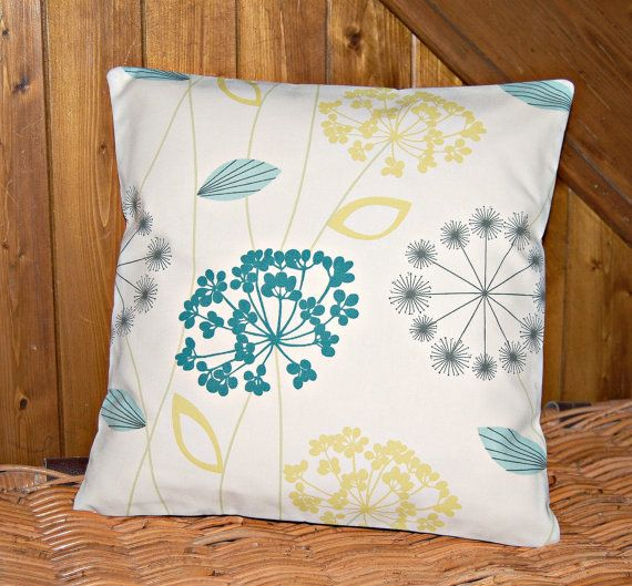 lemon yellow blue grey cushion cover, 16 inch flower decorative pillow cover BOTH SIDES