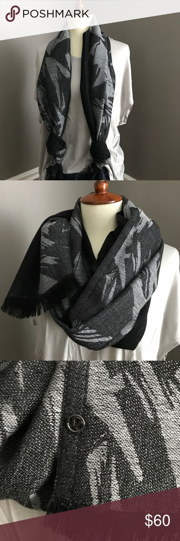 lululemon SCARF 💥💥 Excellent Used Condition. Small metal logo on the edge of the scarf. Print on one side, all black on the other. 48 inches in length and 27 inches wide. lululemon athletica Accessories Scarves & Wraps