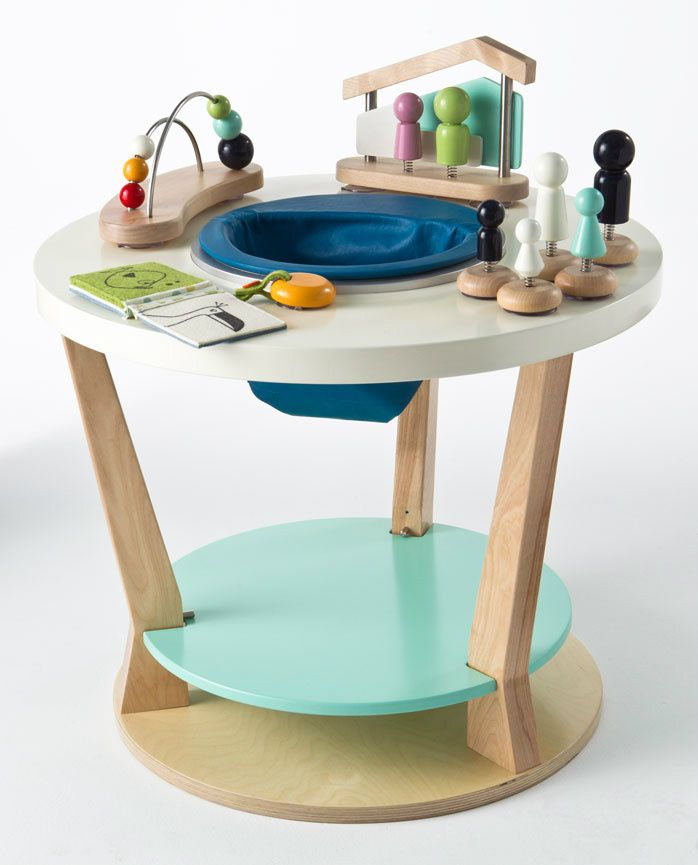 Bobbin Triple Play Centre Sea Legs With Toys Wooden Stationary Play Center  That Turns Into A Childs Table