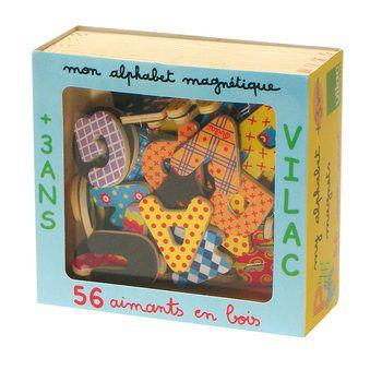 Magnets Alphabet 56 Lettres Majuscules en Coffret Bois