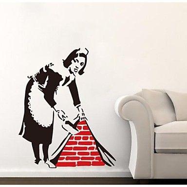 jiubai®+Banksy+domestica+decalcomania+della+parete+adesivo+da+parete+–+EUR+€+25.47