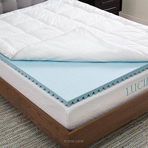 Lucid Hybrid Down Alternative Gel Infused Memory Foam Mattress Topper Queen