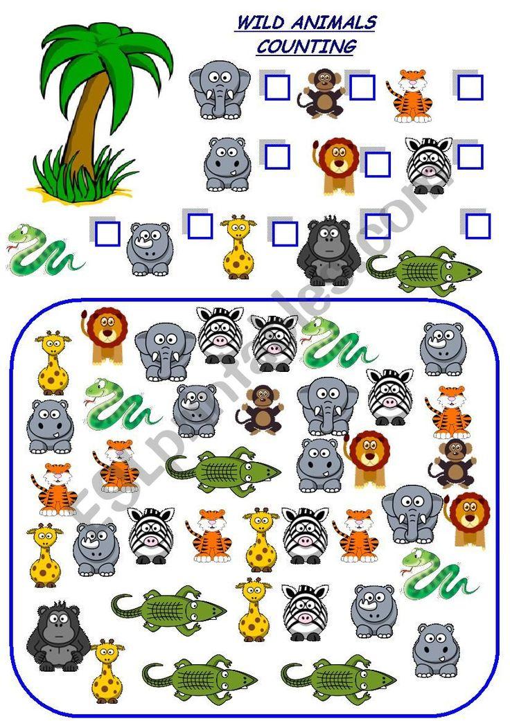 wild animals counting   ESL worksheet by esti1975 in 2020 ...