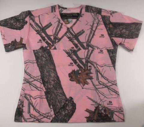 Mossy Oak Pink Camo Scrub Top