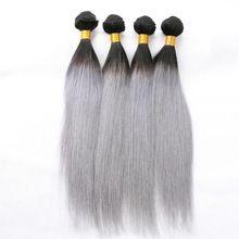 Gri argintiu drept par Ombre Gri peruvian par drept extensii de par Gri Gri Ombre Virgin par Weave 3pcs Lot Halo Lady (China (continentală))