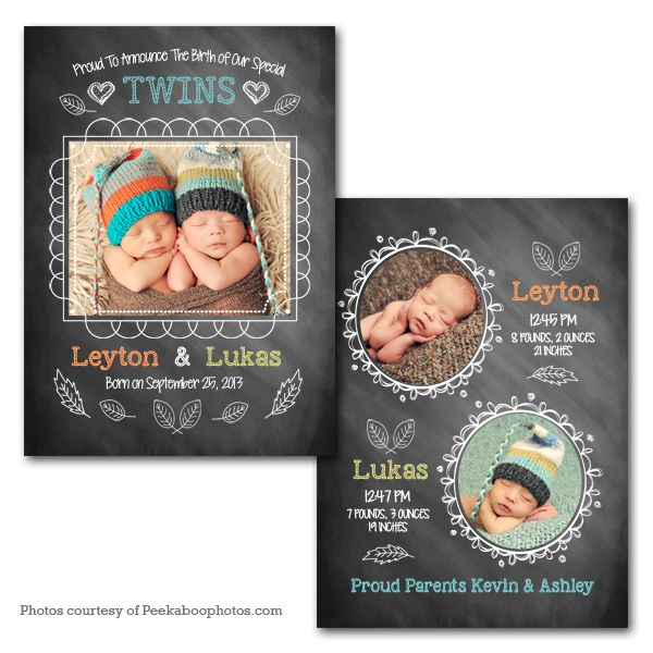 Twinkle Twins - Baby Announcement card template available through Jen Boutet Photography with your newborn portrait session in Charlottesville, Va.   www.jenboutet.com